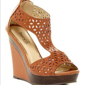 Bucco Laser Cutout Wedge Sandals 6.5